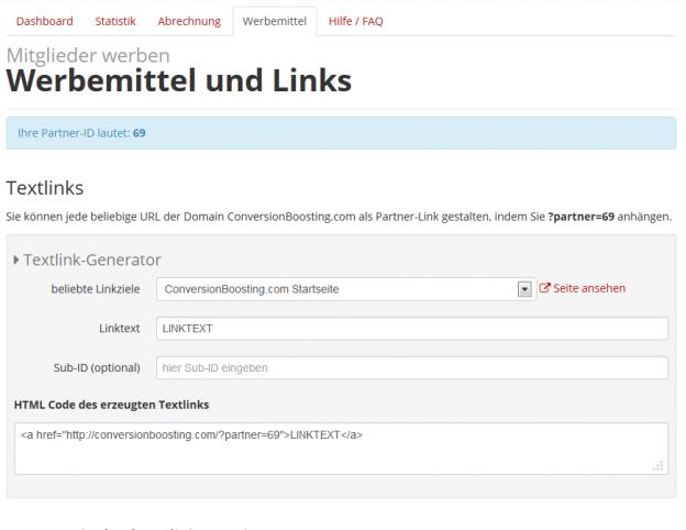 Partnerlink-Generator für ausgewählte Unterseiten. Natürlich können Sie auch auf beliebige andere URLs verlinken.