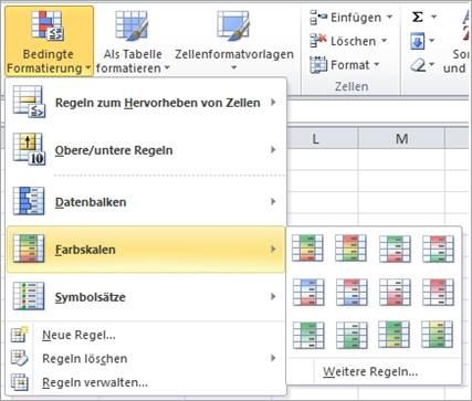 Farbskalen für die bedingte Formatierung